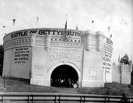 Battle of Gettysburg Cyclorama building st the Alaska Yukon Pacific Exhibition in 1909