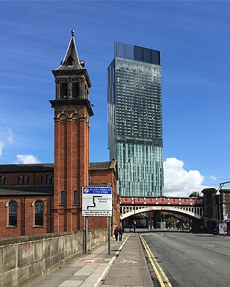 Beetham Tower, Manchester - Beetham Tower's south facade seen from Bridgewater Viaduct.