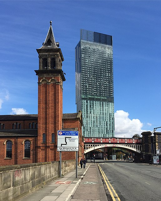 Beetham Tower's south facade seen from Bridgewater Viaduct. Beetham Tower seen from Bridgewater Viaduct.jpg