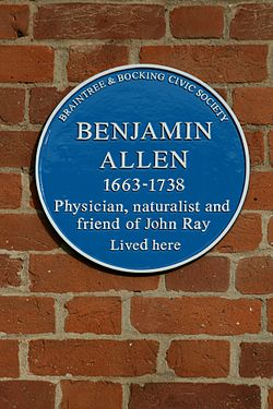 Photo of Benjamin Allen blue plaque