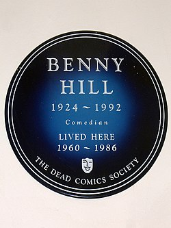 Benny hill 1924 1992 comedian lived here 1960 1986