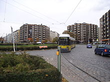 Berlin GT6N-ZR tram at Bersarinplatz.jpg