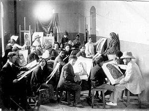 Abel Pann - Bezalel drawing class under direction of Pann, 1912