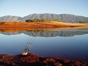 Fishing. Bin el Ouidane lake (Azilal, High Atl...