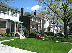 A group of houses in the Birch Cliff neighborhood