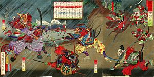 Battle of Okehazama - Ukiyo-e of the Battle of Okehazama by Utagawa Toyonobu