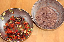 Black bean dips: one prepared with whole beans and one prepared with mashed beans