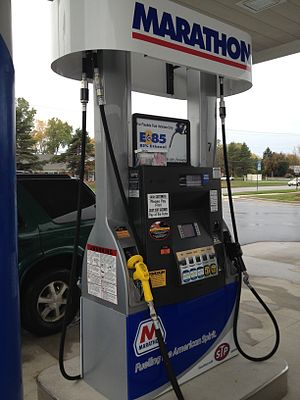 Ethanol fuel in the United States - Blender fuels pump selling the standard E10 ethanol blend together with E15, E30 and E85 in East Lansing, Michigan