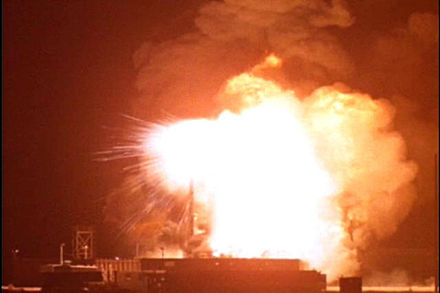 "Nuclear-armed Thor missile explodes and burns on the launch pad at Johnston Island during the failed ""Bluegill Prime"" nuclear test, July 25, 1962 Bluegill Prime Thor Missile Explodes.JPG"