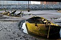 Boat wreck and barge by Rock Ferry Pier - geograph.org.uk - 463834.jpg