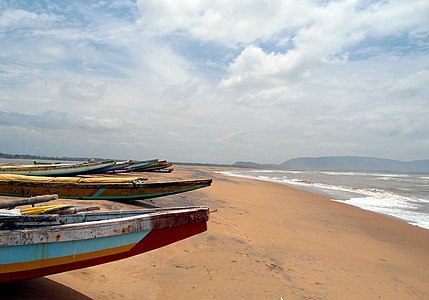 Boats at Bhimili beach Visakhapatnam District.JPG