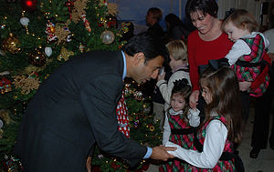 Bobby Jindal - Governor Jindal greets children of deployed Louisiana National Guard Soldiers at the lighting of the State Capitol Christmas tree.