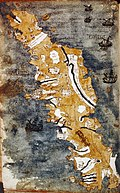 Bodleian Libraries, Map of Crete (Candia) with buildings, river and ships at sea.jpg