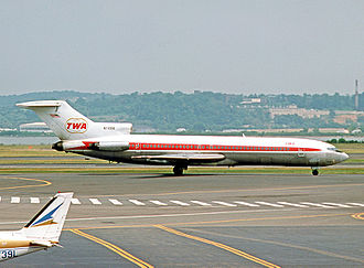 TWA operated nearly 100 Boeing 727 trijets on their US domestic routes between 1964 and closure of operations. Boeing 727-231 N74318 TWA DCA 05.08.75 edited-3.jpg