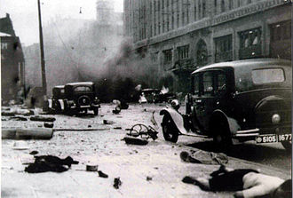 Battle of Shanghai - Exterior of Shanghai's Cathay Hotel after an ROC NRA bombing run on August 14, 1937