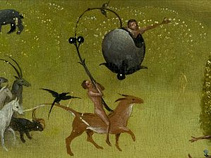 Bosch, Hieronymus - The Garden of Earthly Delights, central panel - Detail Rider and fruit (upper left).jpg