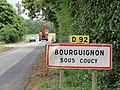 Bourguignon-sous-Coucy (Aisne) city limit sign.JPG