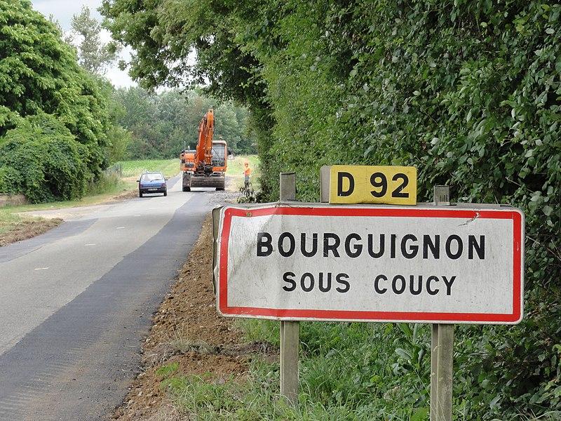 Bourguignon-sous-Coucy (Aisne) city limit sign