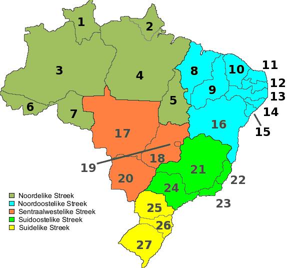 Brasilie kaart met streke
