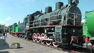 Файл:Brest railway museum locomotives.webm