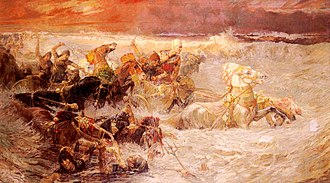 Crossing the Red Sea - Pharaoh's army engulfed by the Red Sea, painting by Frederick Arthur Bridgman (1900)