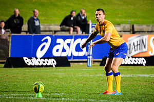 Place kick - Quade Cooper taking a place kick
