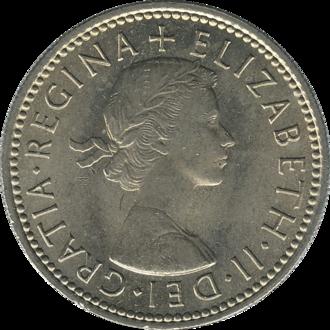 Shilling (British coin) - Image: British shilling 1963 obverse
