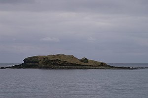 Brough Holm - The remains of the broch can be seen on the centre right of the picture.