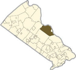 Location of Solebury Township in Bucks County