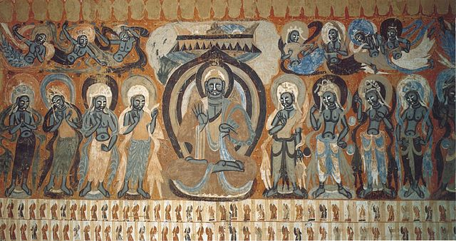 File buddha flanked by bodhisattvas with flying apsaras for Dynasty mural works