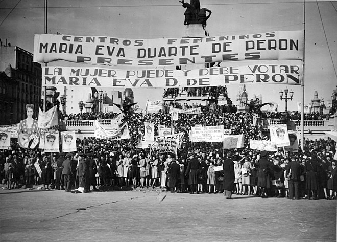 Women's demonstration in Buenos Aires in front of the National Congress by law for universal suffrage, 1947 Buenos Aires - Balvanera - Manifestacion por el voto femenino en 1948.jpg