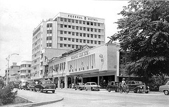 Bukit Bintang - Lower-section Bukit Bintang Road circa. 1960's. The Federal Hotel remains open to this day.