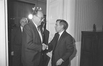 Gyula Horn - Gyula Horn with German Foreign Minister Hans-Dietrich Genscher in 1989