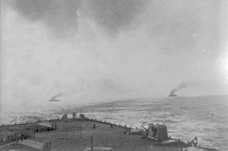 Pursuit of Goeben and Breslau - British ships seen following the German ships