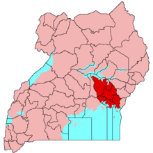 Map of Uganda, with Busoga in red