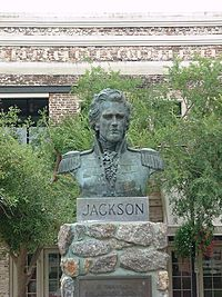 A bust of Andrew Jackson at the Plaza Ferdinand VII in Pensacola, Florida, where Jackson was sworn in as territorial governor.