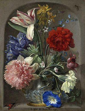 Johann Rudolf Byss - Johann Rudolf Byss, Flowers in a stone niche, 1693