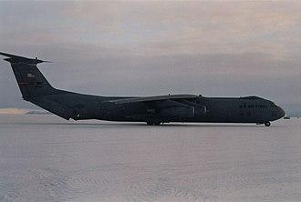 Ice Runway - C-141 Starlifter on Ice Runway, near McMurdo Station, 1996.