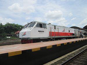 GE U20C - CC 203 95 05 locomotive while hauling Argo Wilis train at Jogjakarta station.