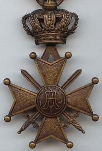 Croix de guerre (Belgium) - Reverse of the WW1 Croix de guerre