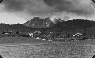 Berastagi - Berastagi panorama in 1940s with Mount Sibayak in the background