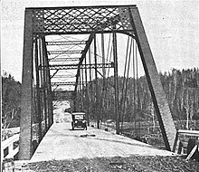 Historic photo of the Steel Bridge over the Dead River