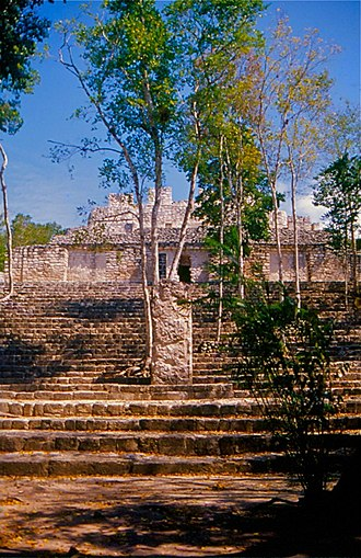 Calakmul - Calakmul's Stela 88 stands upon the stairway of Structure 13