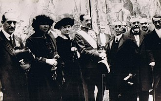 Celedonio Calatayud - C.Calatayud with Marie Curie and King Alfonso XIII at the First National Medical Congress, Madrid, 1919
