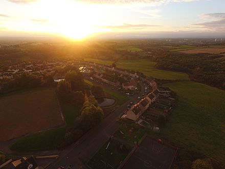 Calderbank at sunset from the air.