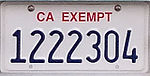 California exempt license plate 2016.jpg