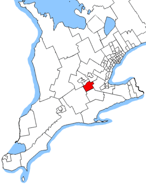 Cambridge (provincial electoral district) - Cambridge in relation to other southwestern Ontario electoral districts