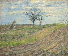 Ploughed Field in Winter with a Man Carrying a Bundle of Sticks