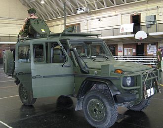 Fort York Armoury - G-Wagen reconnaissance vehicle of the Queen's York Rangers, on display at Fort York Armoury