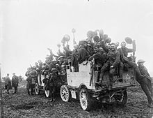 Canadians on Autocar truck at Flers-Courcelette 1916 IWM CO 829.jpg